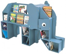 Animal book storage and library listening stations