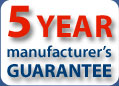 5 year manufacturer's guarantee