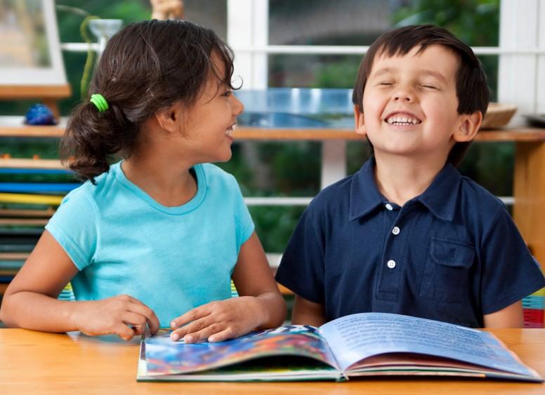 Two-children-enjoying-books