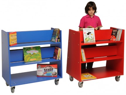 Charlton Book Trolley - Red and Blue