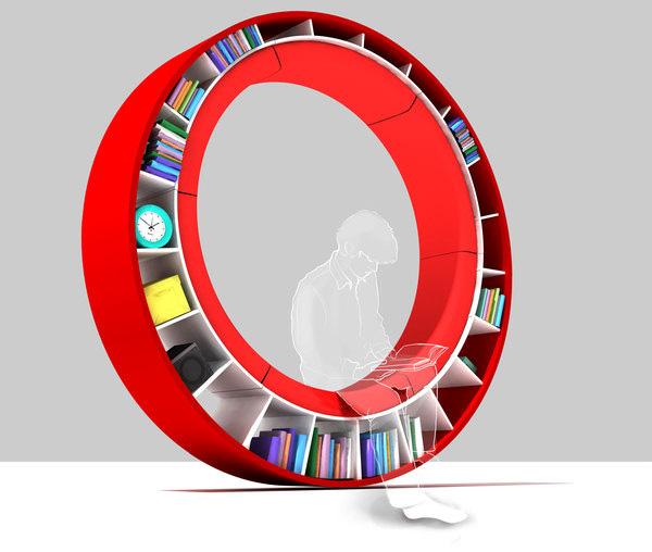round-sofa book shelf